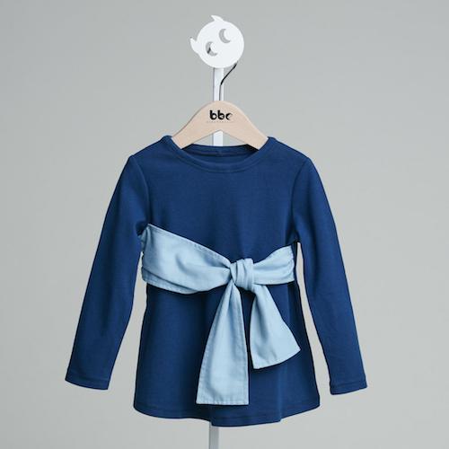 baby baby cool 腰間綁帶蝴蝶結上衣(藍)