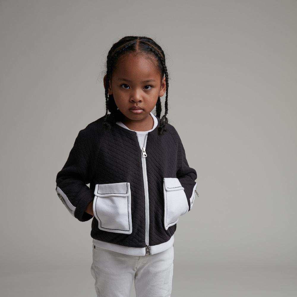 baby baby cool|大口袋格菱紋外套(黑)
