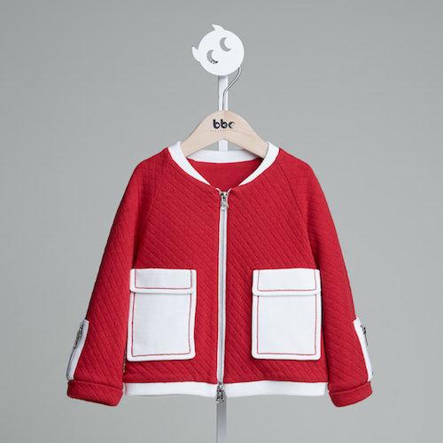 baby baby cool|大口袋格菱紋外套(紅)