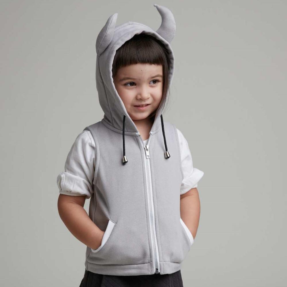 baby baby cool|小惡魔連帽背心(灰)