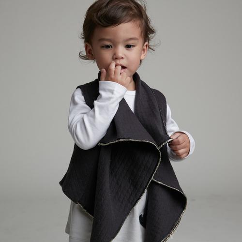 baby baby cool|個性立裁翻領背心(黑)