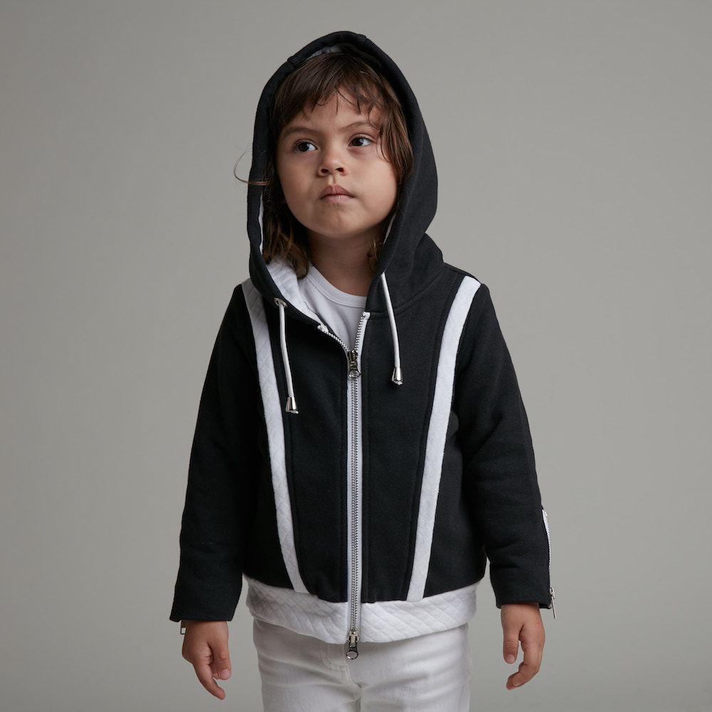 baby baby cool| 剪接連帽外套(黑)