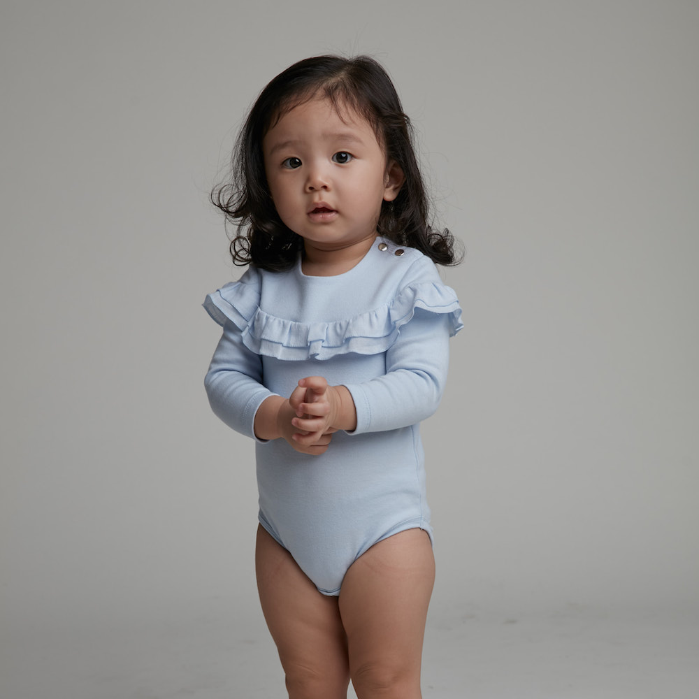 baby baby cool|一字領荷葉包屁衣(藍)