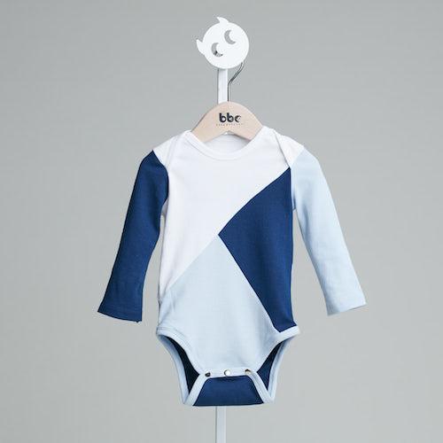baby baby cool|三色拼接包屁衣(藍)