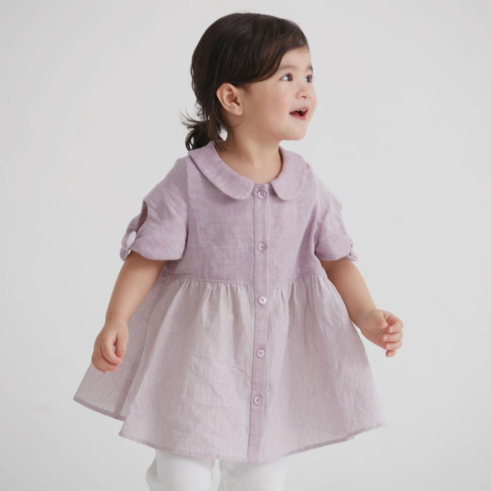 baby baby cool 紫色細摺娃娃上衣