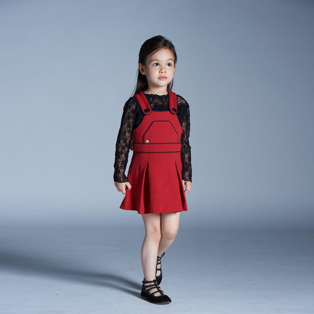 baby baby cool|溫蒂菱格紋背帶裙
