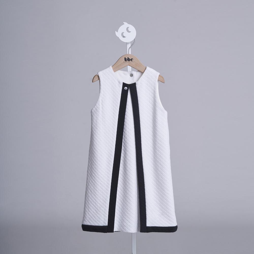 baby baby cool 菱格紋拼色背心裙(白)