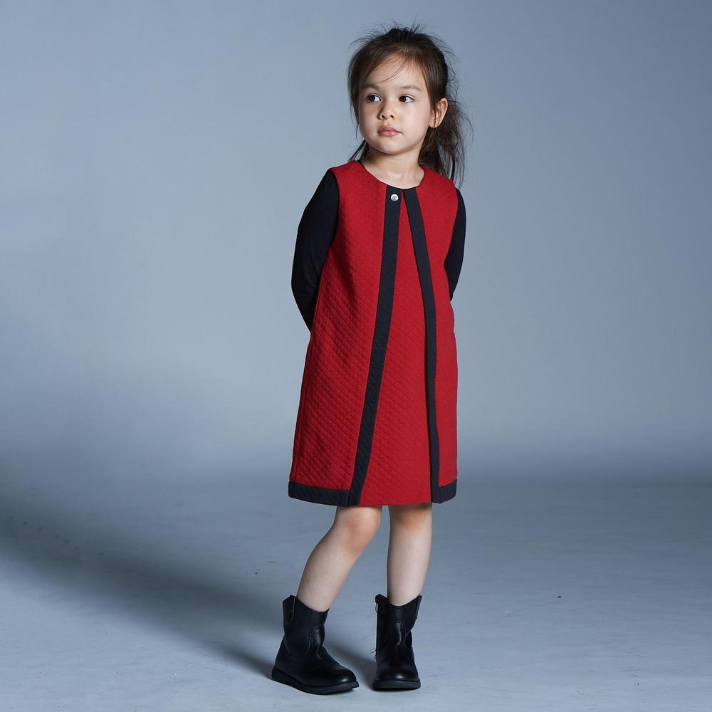 baby baby cool|菱格紋拼色背心裙(紅)