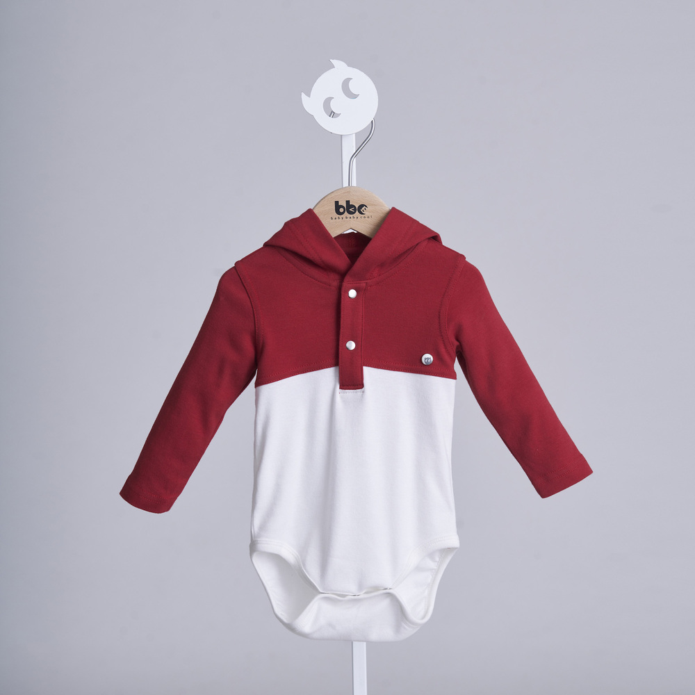 baby baby cool|運動風連帽包屁衣(紅)