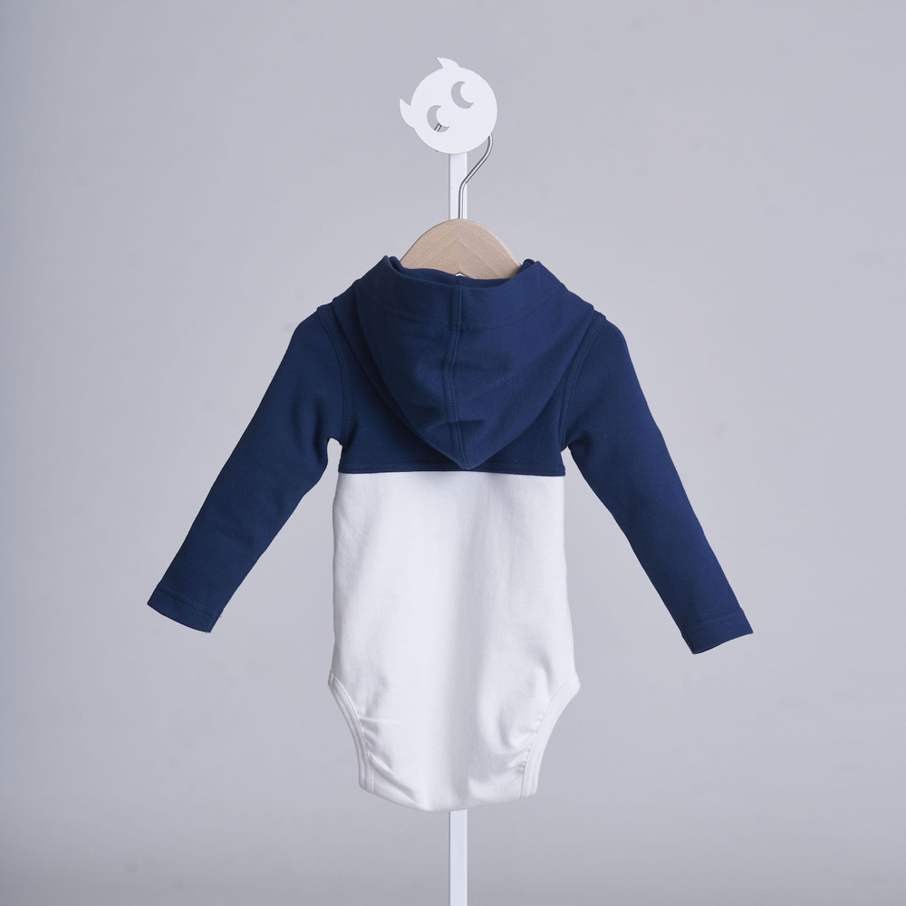 baby baby cool|運動風連帽包屁衣(藍)