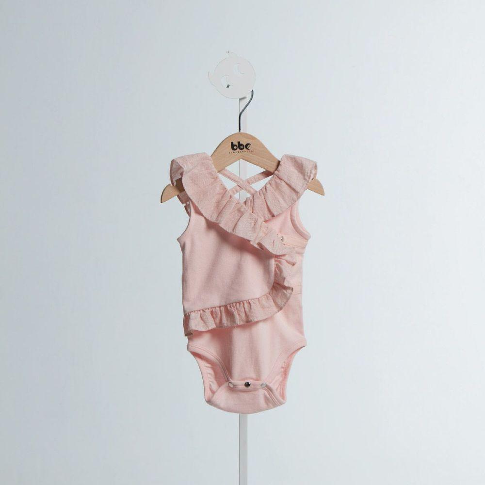 baby baby cool|Wave 系列-露肩荷葉包屁衣(淺灰)(粉紅)(淺紫)