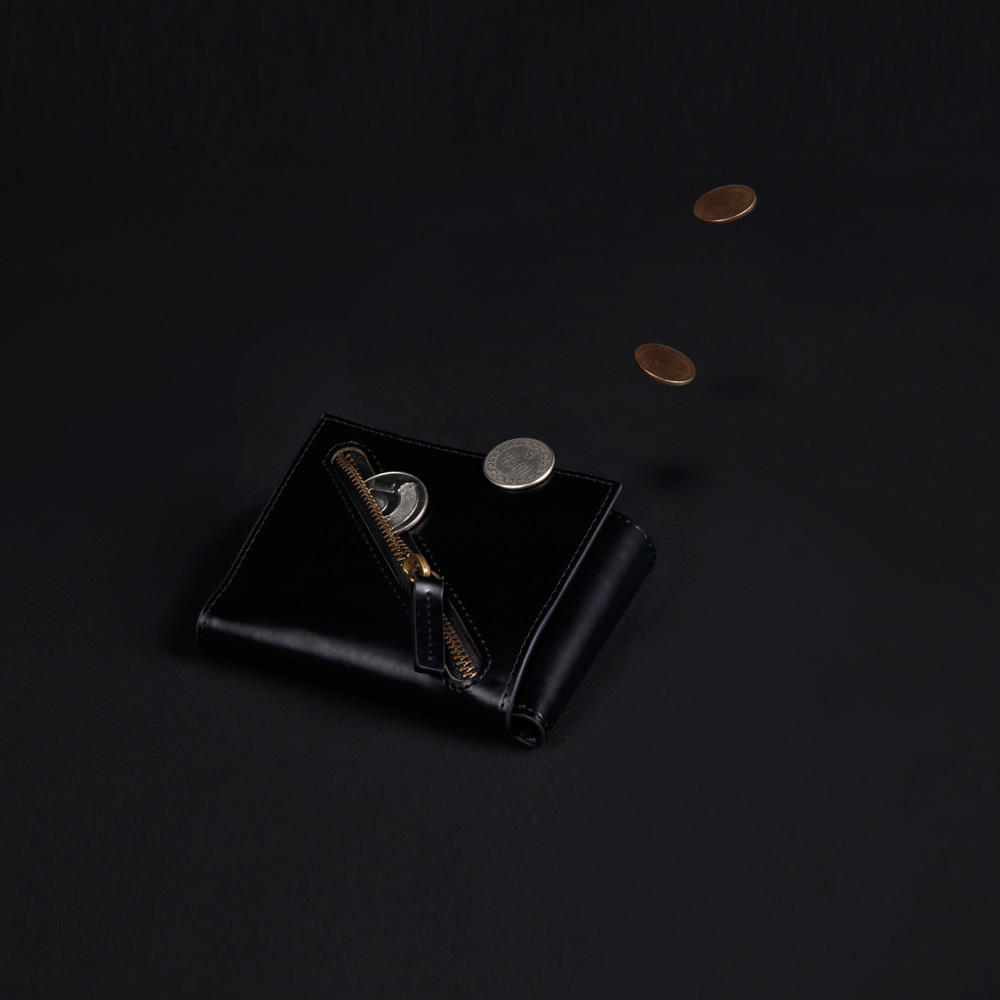 IDEOXO│BLACK 分錢包 (斜角拉鍊)