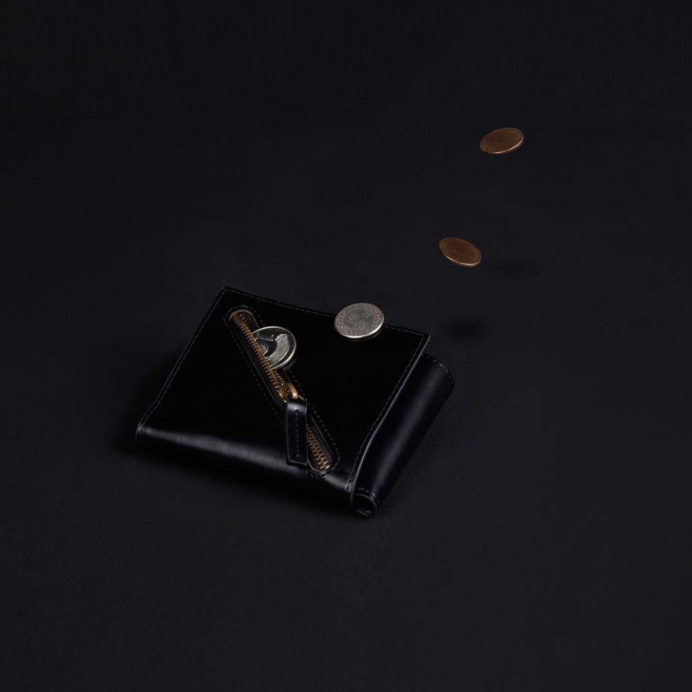 IDEOXO│BLACK 分錢包 (L型拉鍊)
