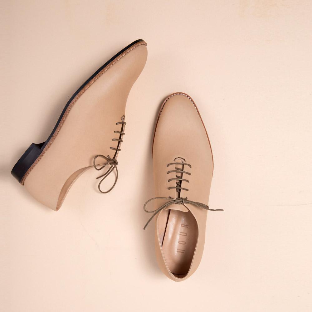 NOUR|classic 經典款 oxford 全素面牛津鞋-Spaghetti 粉膚色
