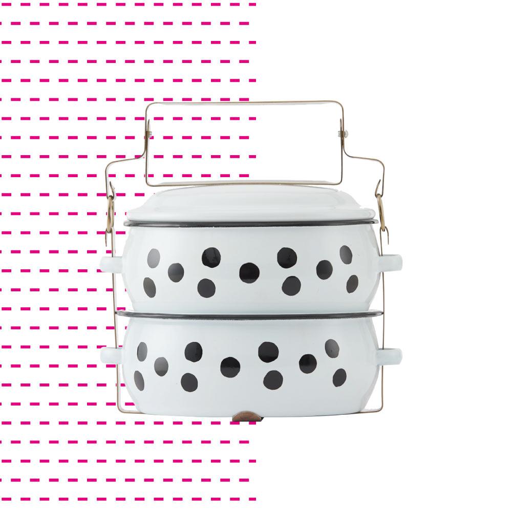 ShopChaMuch|2018新設計 黑點點白 貳層琺瑯PINTO便當盒