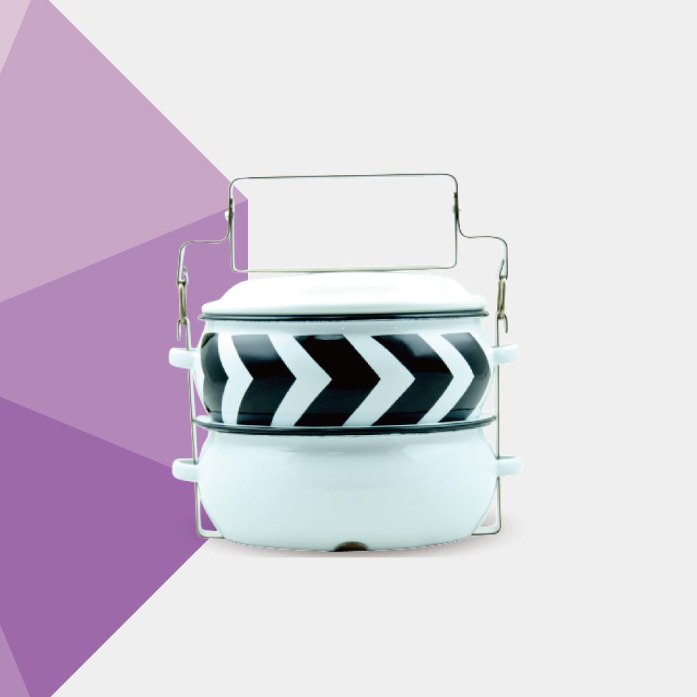 ShopChaMuch 黑箭形白 貳層琺瑯PINTO便當盒