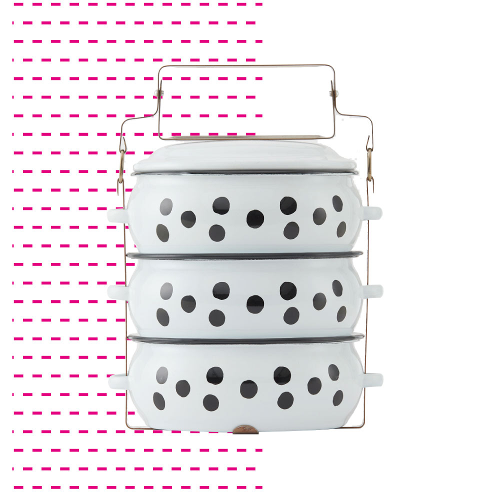 ShopChaMuch|2018新設計 黑點點白 叁層琺瑯PINTO便當盒