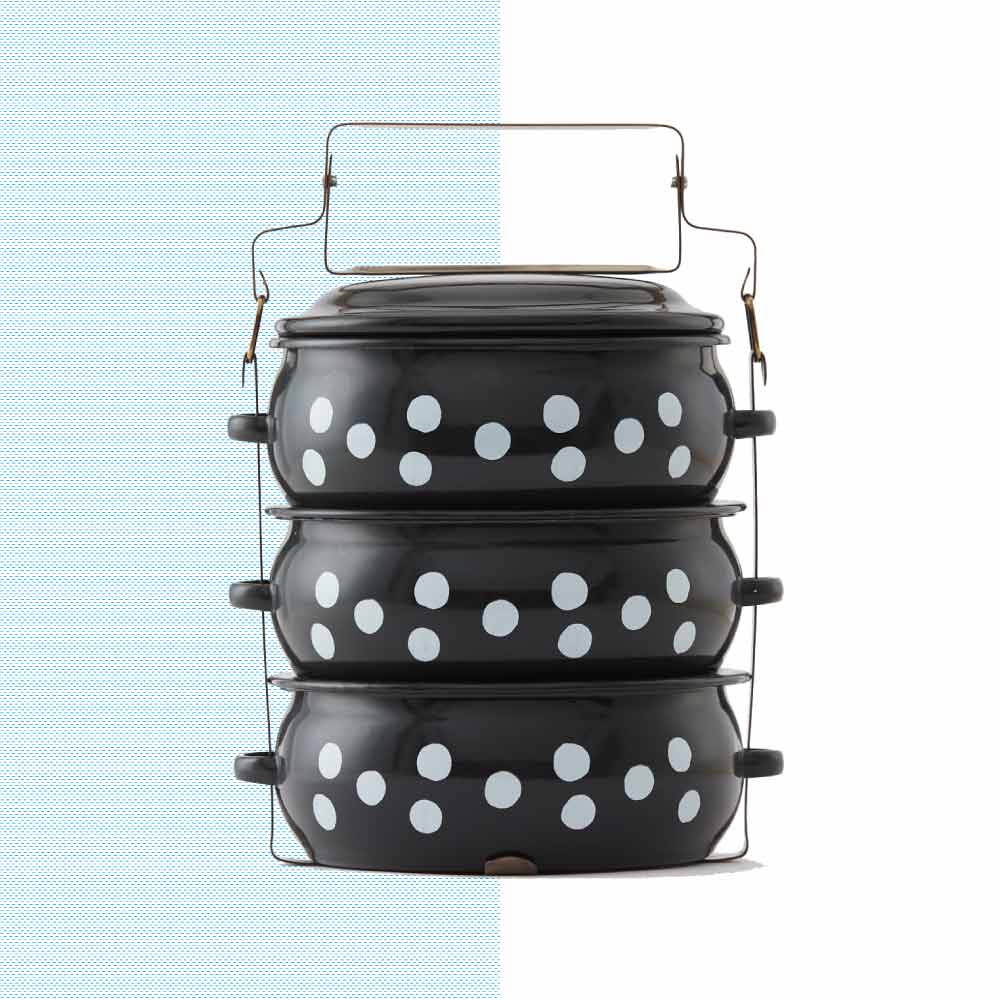 ShopChaMuch|2018新設計 白點點黑 叁層琺瑯PINTO便當盒