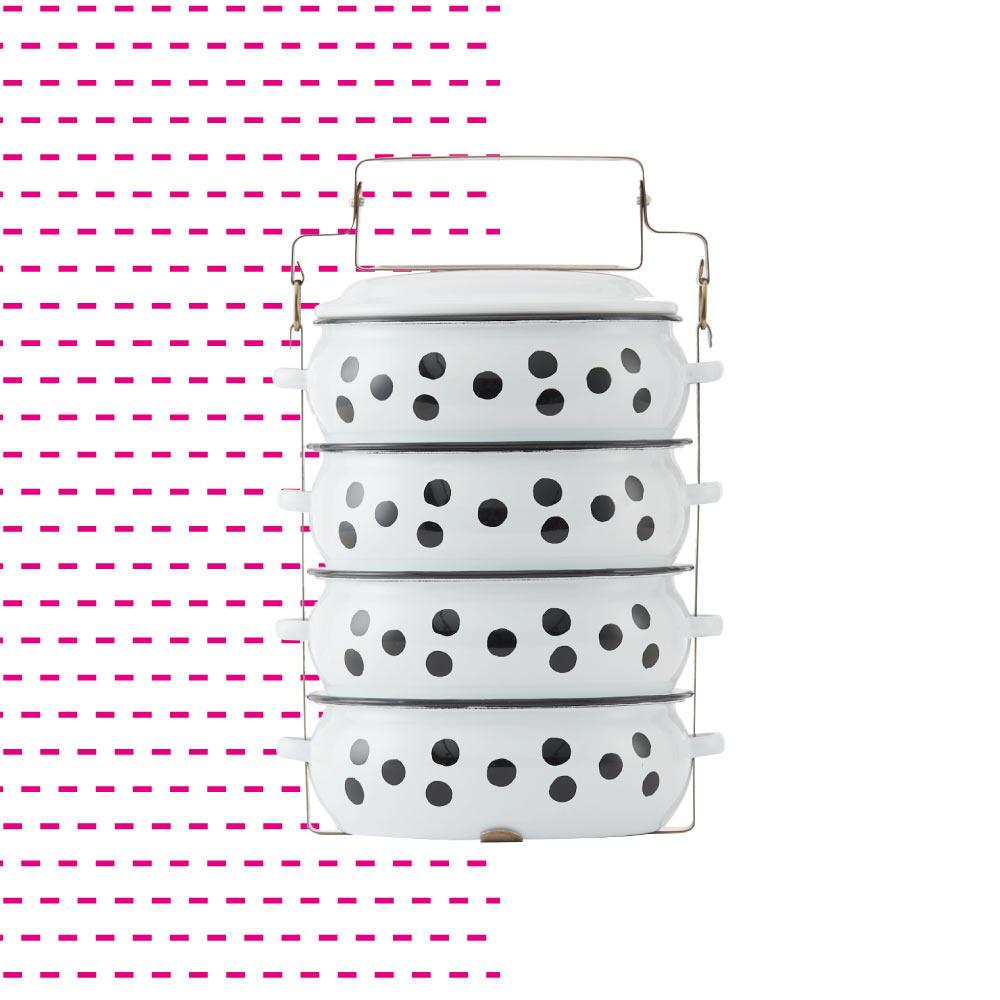 ShopChaMuch|2018新設計 黑點點白 肆層琺瑯PINTO便當盒