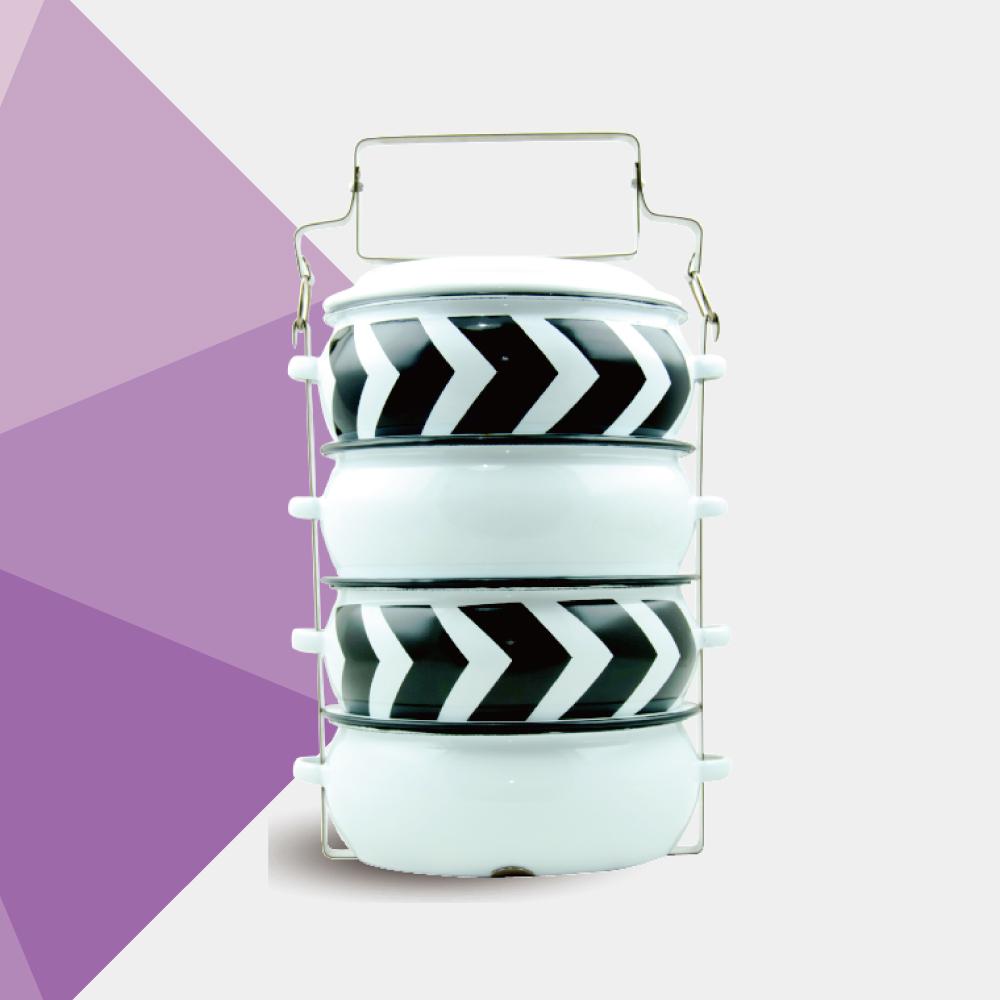 ShopChaMuch|黑箭形白 肆層琺瑯PINTO便當盒