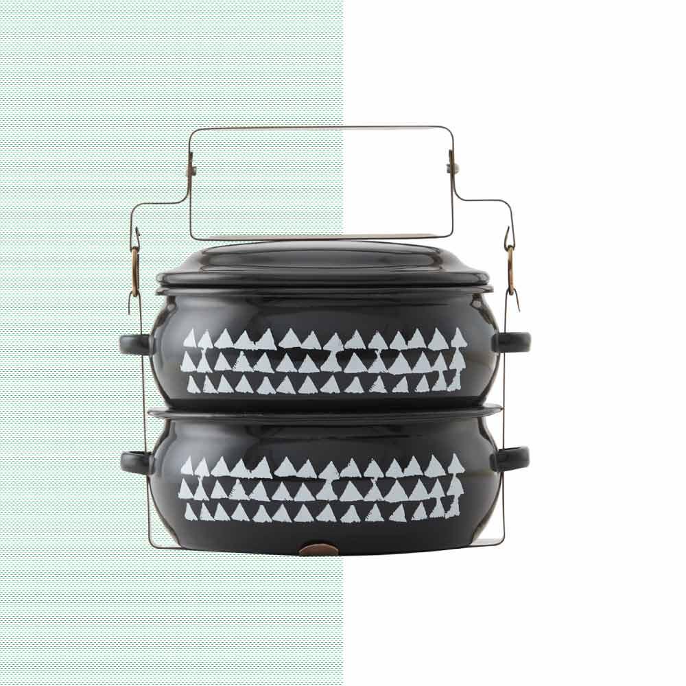 ShopChaMuch|2018新設計 白三角黑 貳層琺瑯PINTO便當盒
