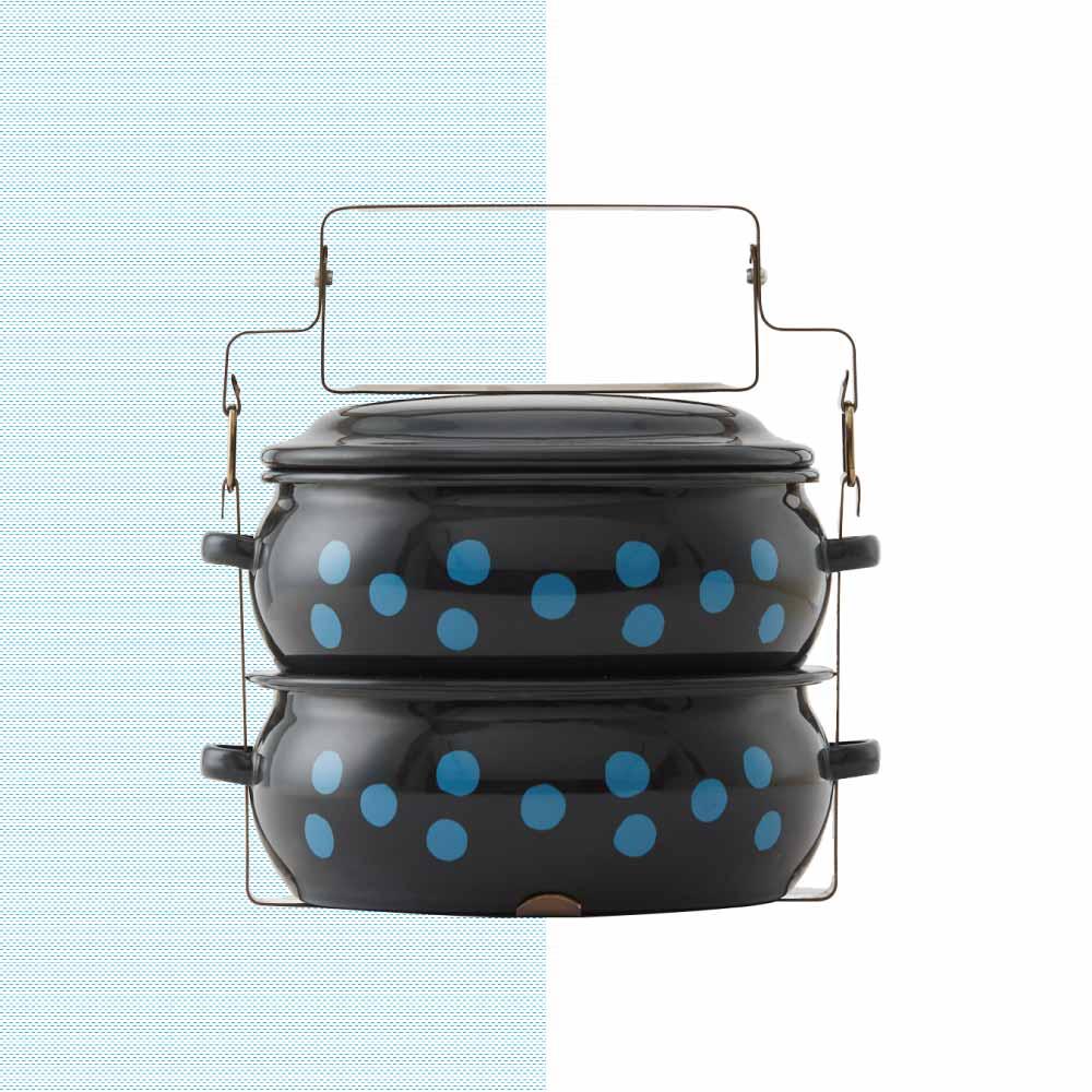 ShopChaMuch|2018新設計 藍點點黑 貳層琺瑯PINTO便當盒