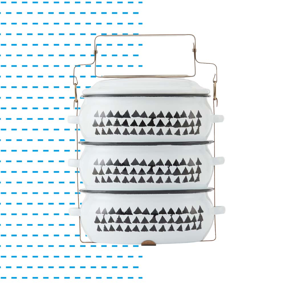 ShopChaMuch|2018新設計 黑三角白 叁層琺瑯PINTO便當盒