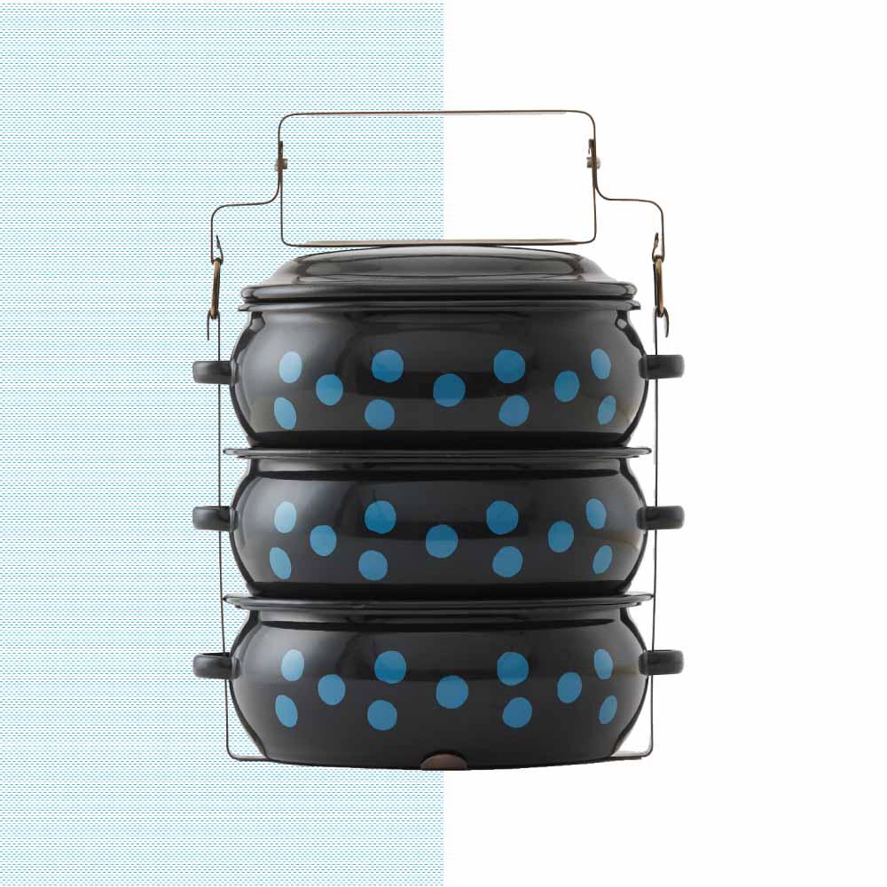 ShopChaMuch|2018新設計 藍點點黑 叁層琺瑯PINTO便當盒