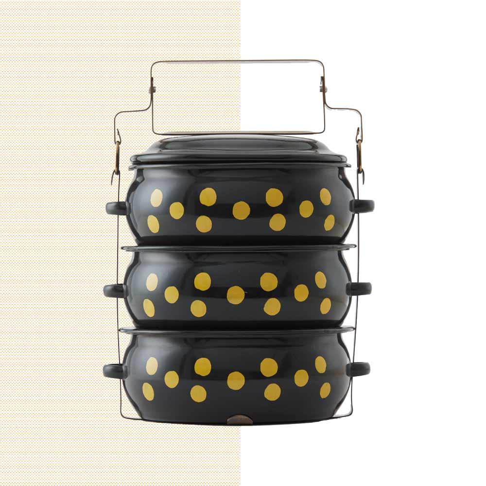 ShopChaMuch|2018新設計 黃點點黑 叁層琺瑯PINTO便當盒