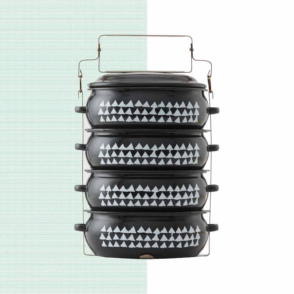 ShopChaMuch 2018新設計 白三角黑 肆層琺瑯PINTO便當盒