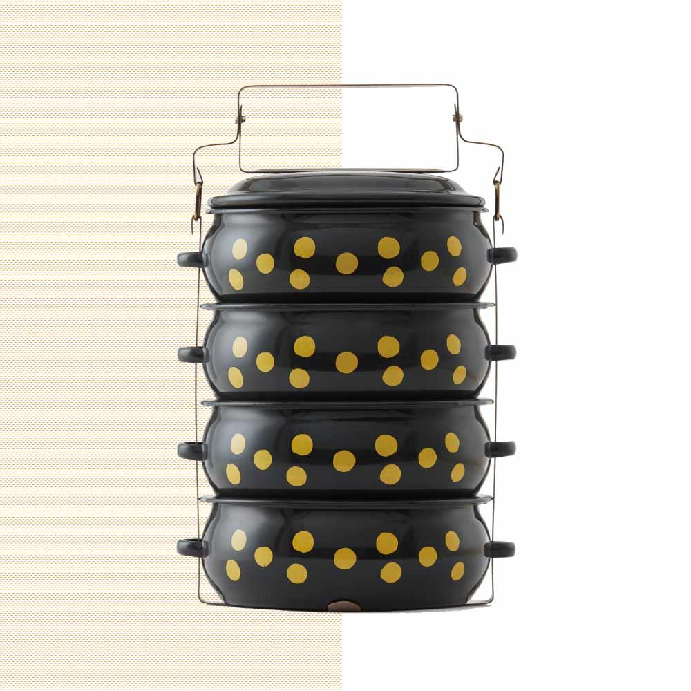 ShopChaMuch|2018新設計 黃點點黑 肆層琺瑯PINTO便當盒