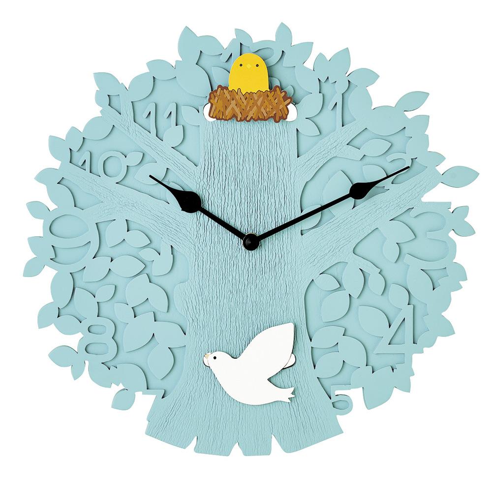 Zeller Life|大樹鳥兒搖擺靜音 時鐘 掛鐘(水藍)