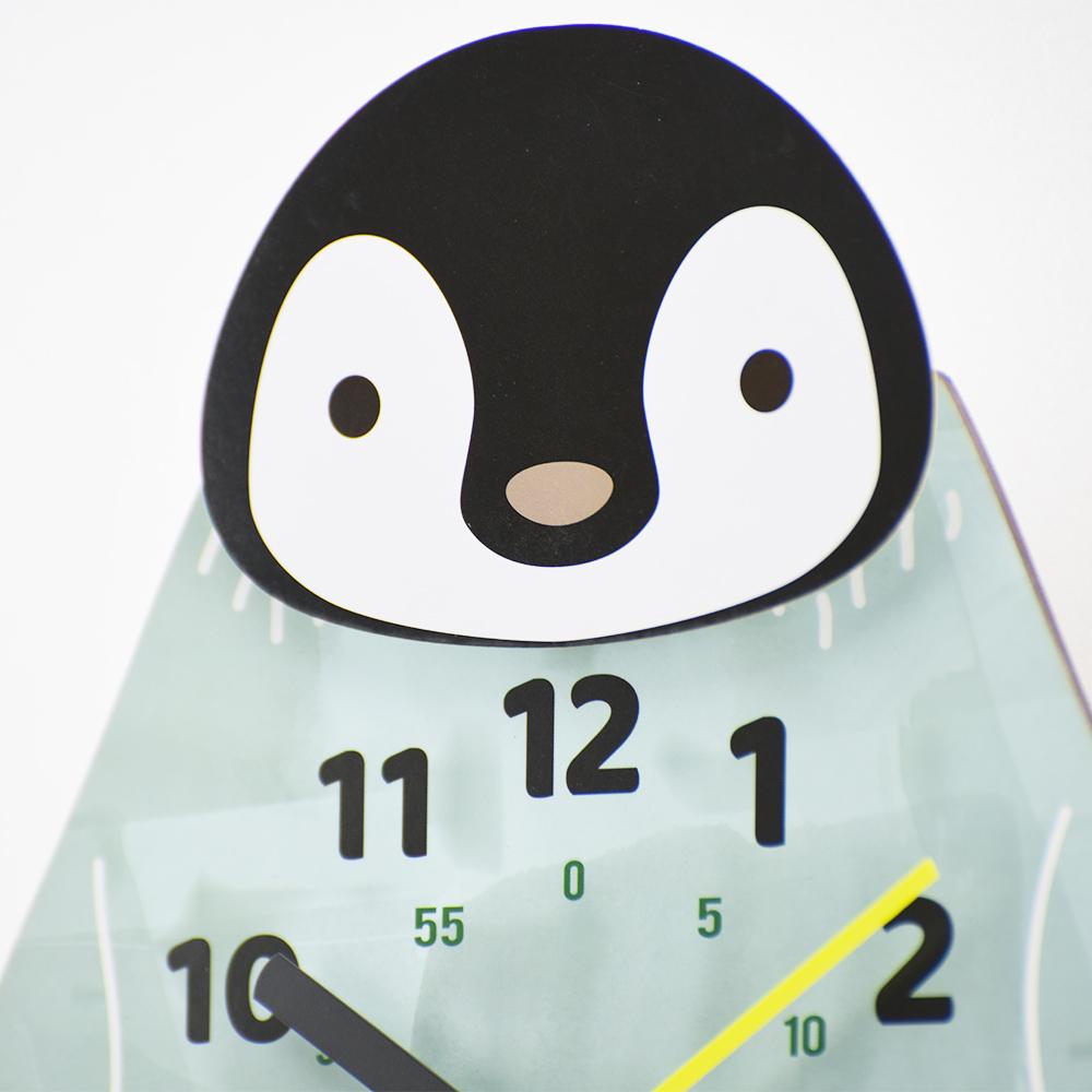 Zeller Life|企鵝先生搖擺靜音 時鐘 掛鐘(水藍)