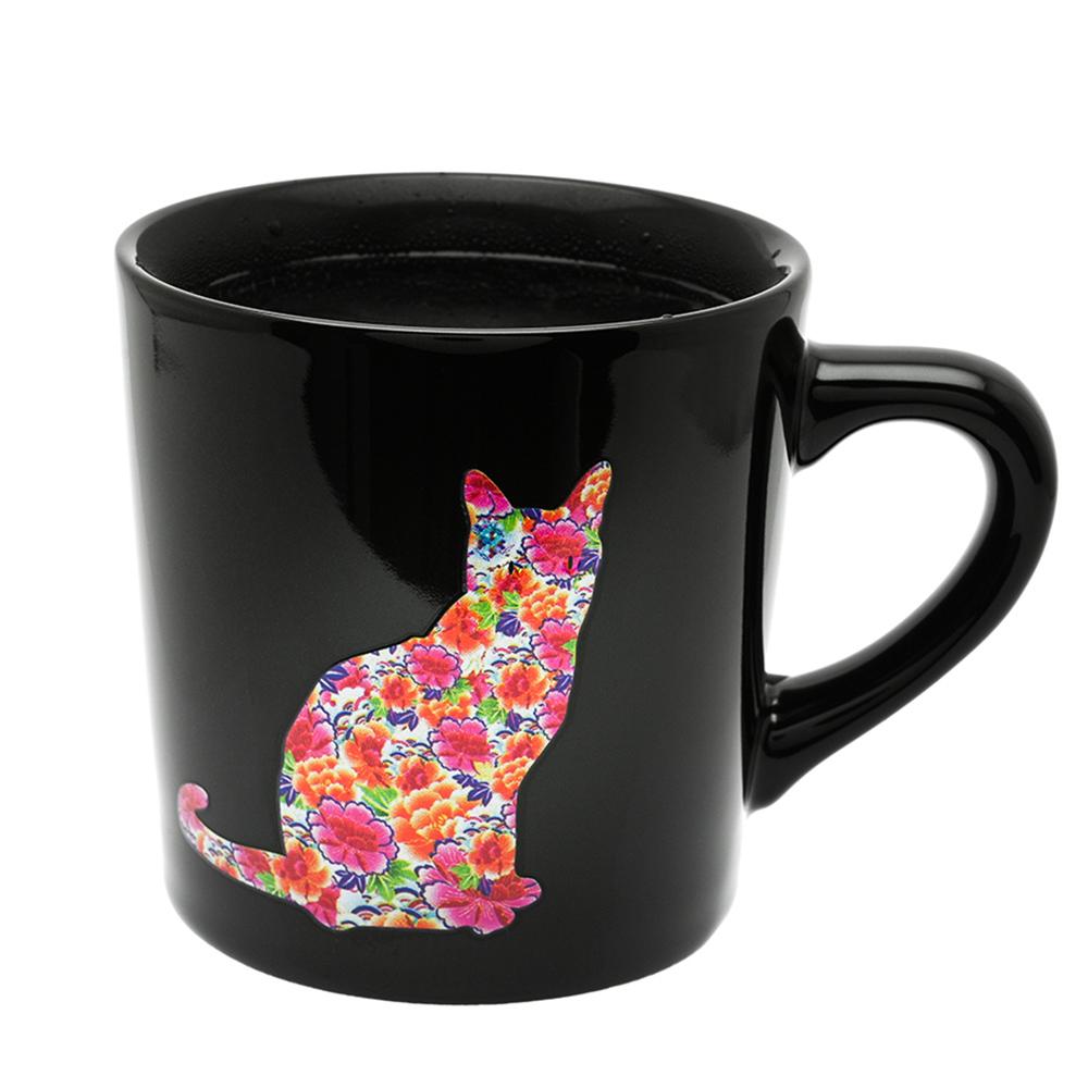 丸モ高木陶器|日本暖暖變色貓貓馬克杯-尋找貓咪款(神秘黑)