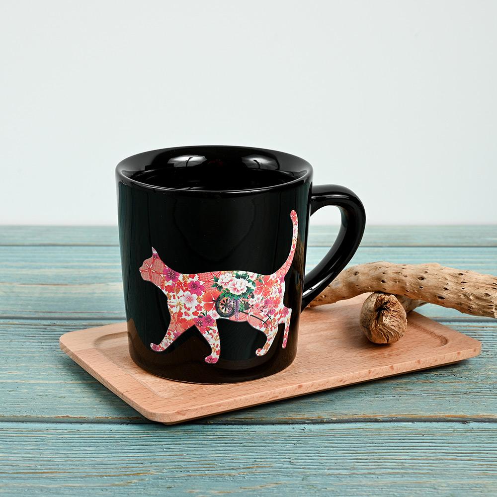 丸モ高木陶器 日本暖暖變色貓貓馬克杯-一叫就來款(神秘黑)