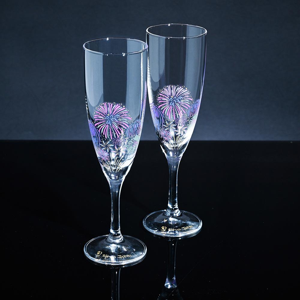 丸モ高木陶器|璀璨夏夜花火冷感變色香檳杯(2入/組)