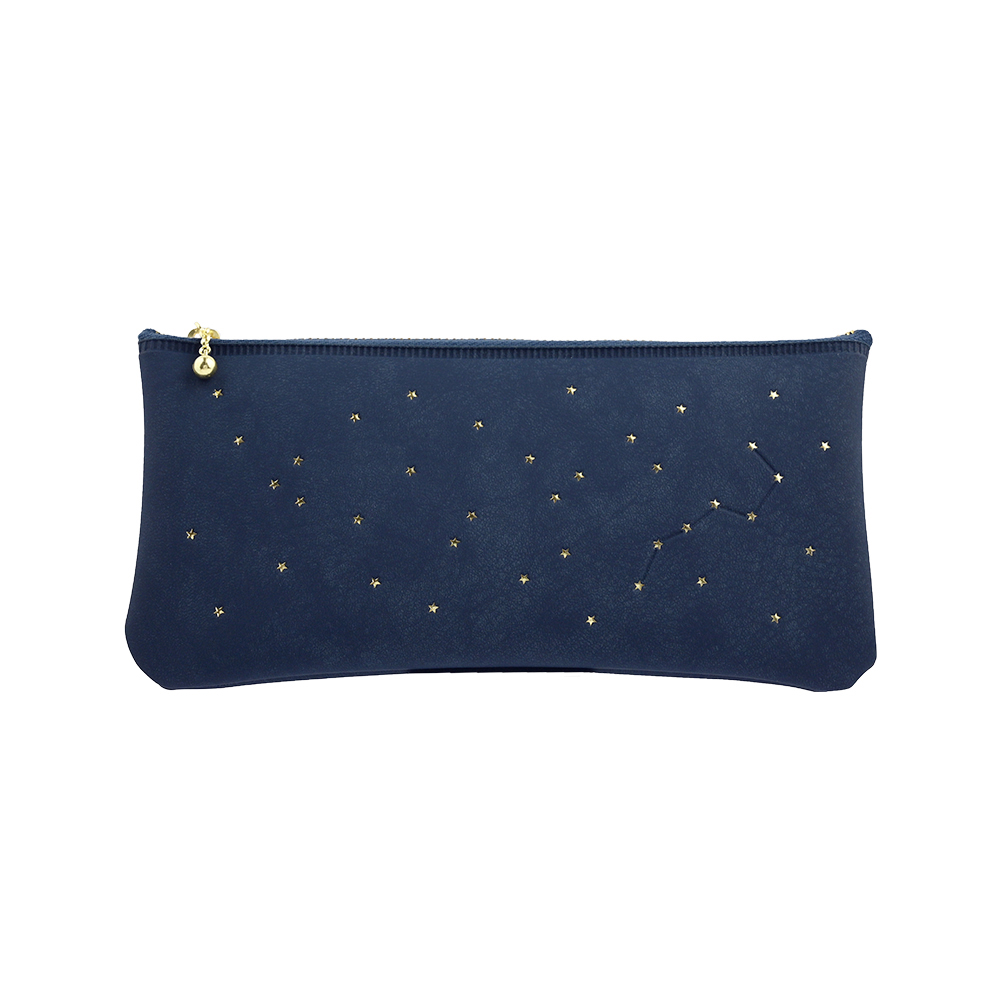 El Commun|閃亮恆星扁形筆袋-海軍藍
