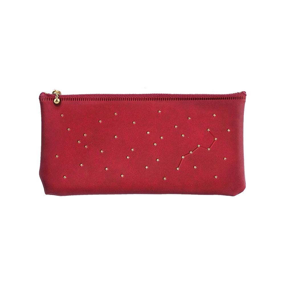 El Commun|閃亮恆星扁形筆袋-紅酒紅