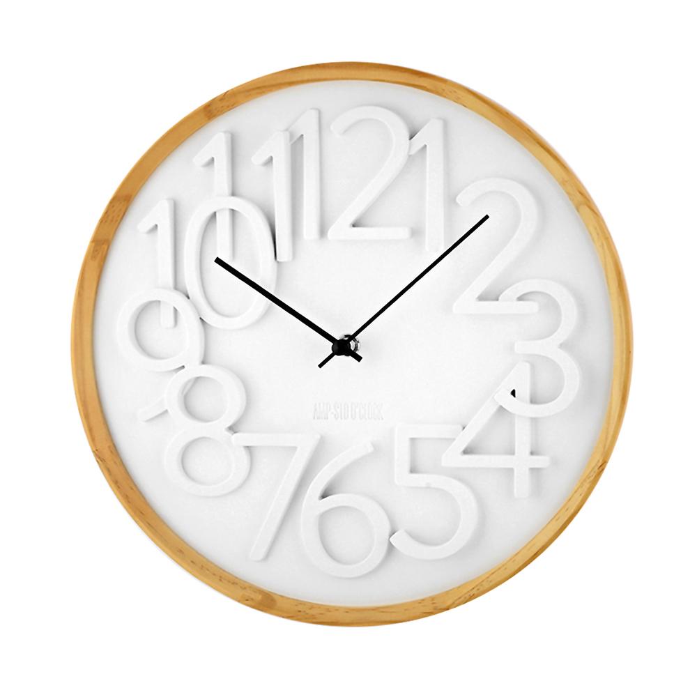 AMP|復古典雅數字木紋掛鐘