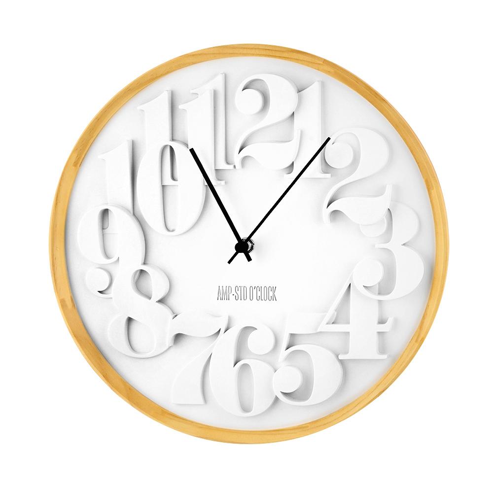 AMP 數字交錯質感木紋掛鐘