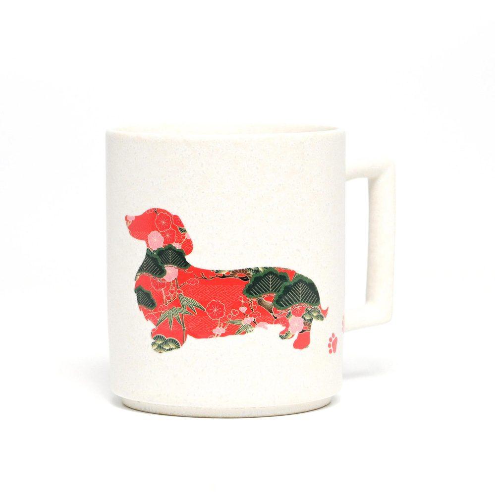 丸モ高木陶器 日本暖暖狗狗變色馬克杯-臘腸狗(霧白)
