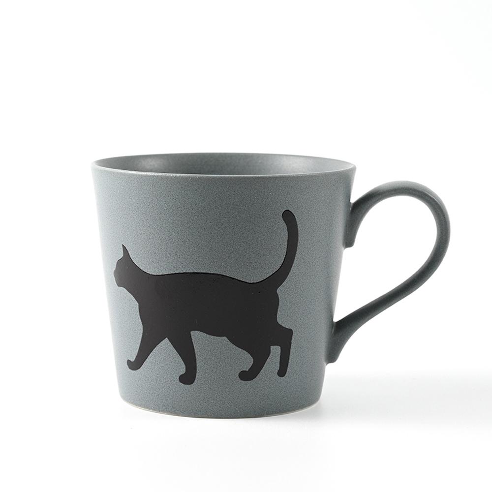 丸モ高木陶器 日本暖暖變色貓貓馬克杯-一叫就來款 (藍灰)