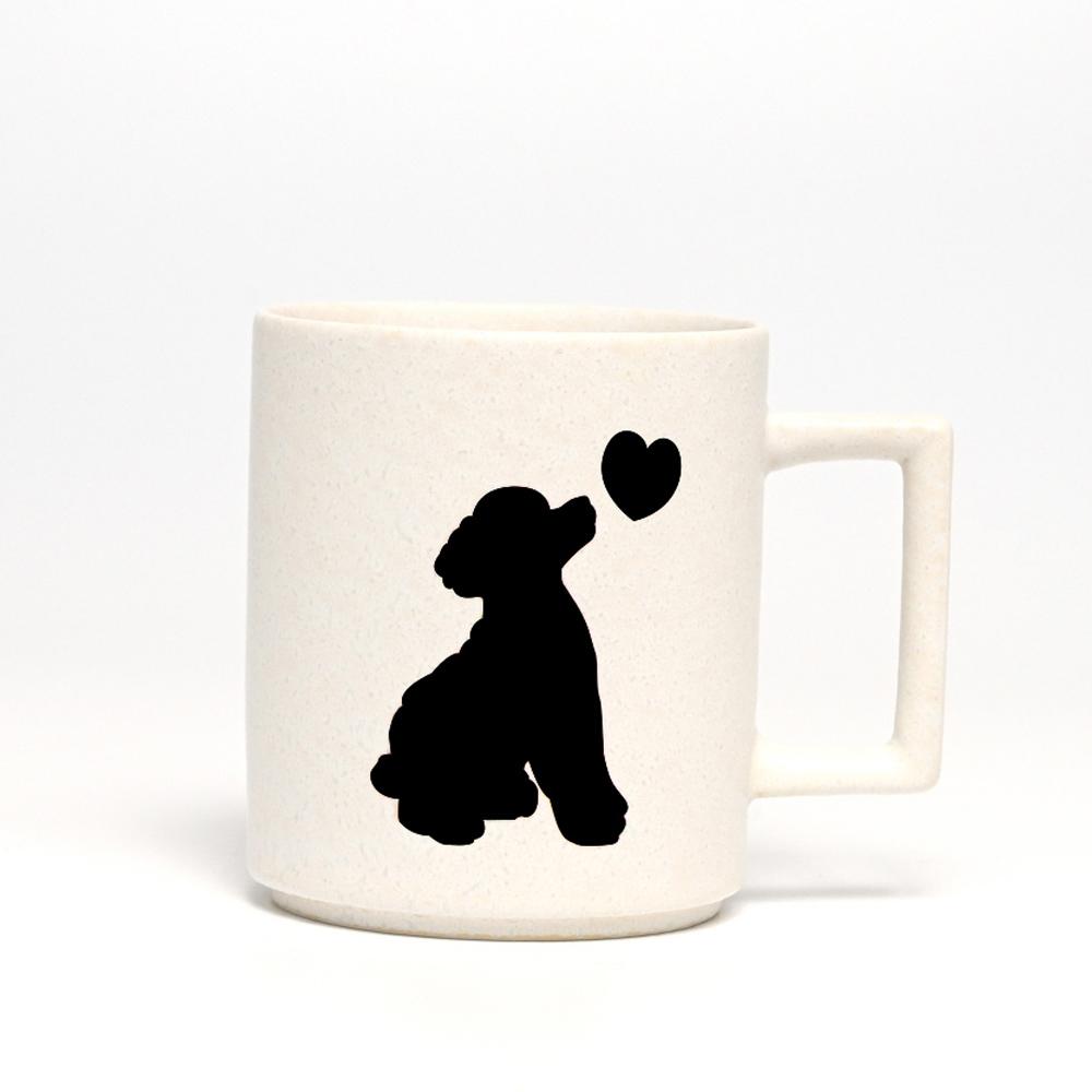 丸モ高木陶器|日本暖暖狗狗變色馬克杯-貴賓狗(霧白)