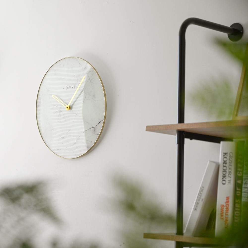 NEXTIME|北歐黃銅大理石紋靜音掛鐘(白)