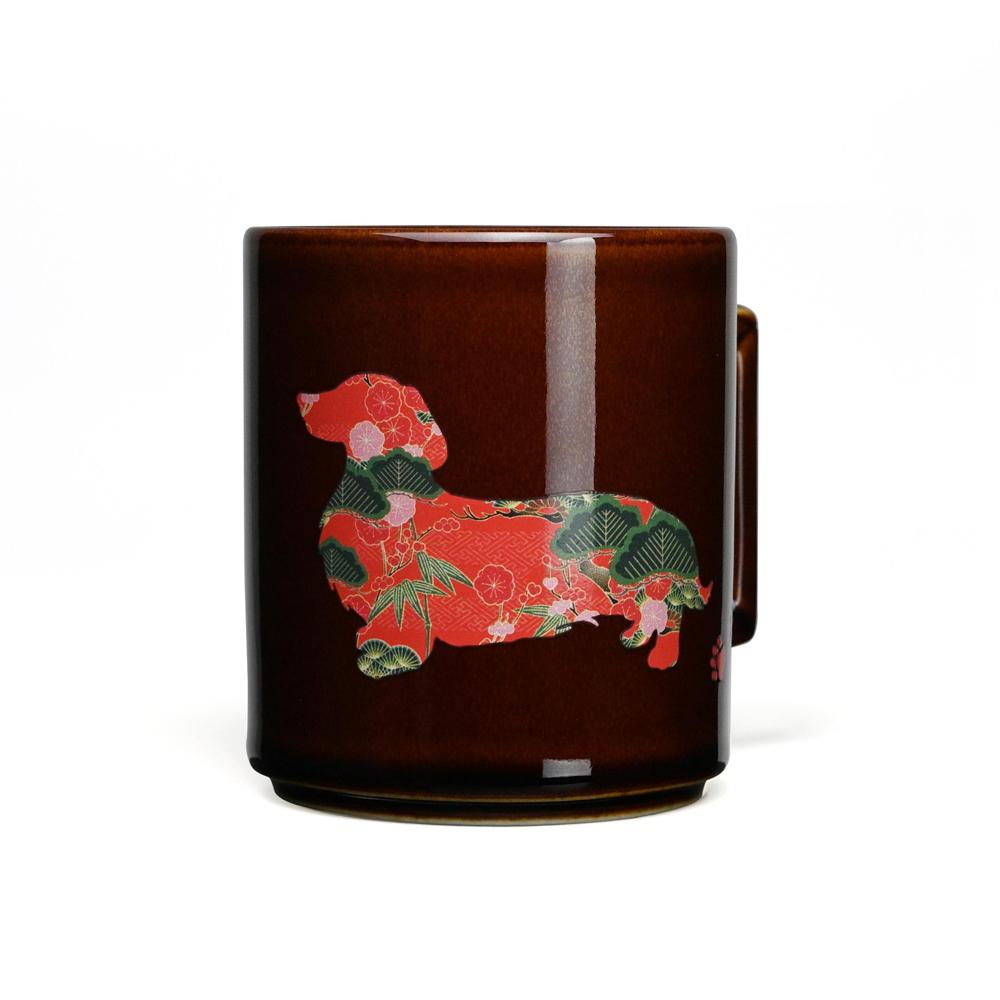 丸モ高木陶器|日本暖暖狗狗變色馬克杯-臘腸狗(糖棕)