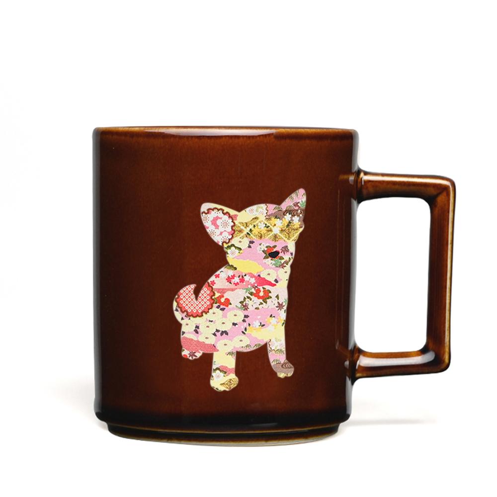 丸モ高木陶器|日本暖暖狗狗變色馬克杯-吉娃娃(糖棕)
