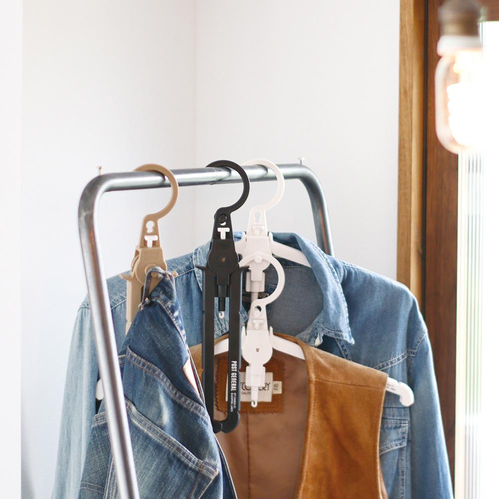 POST GENERAL 多用途可折疊式收納衣架-2入組(淨白色)