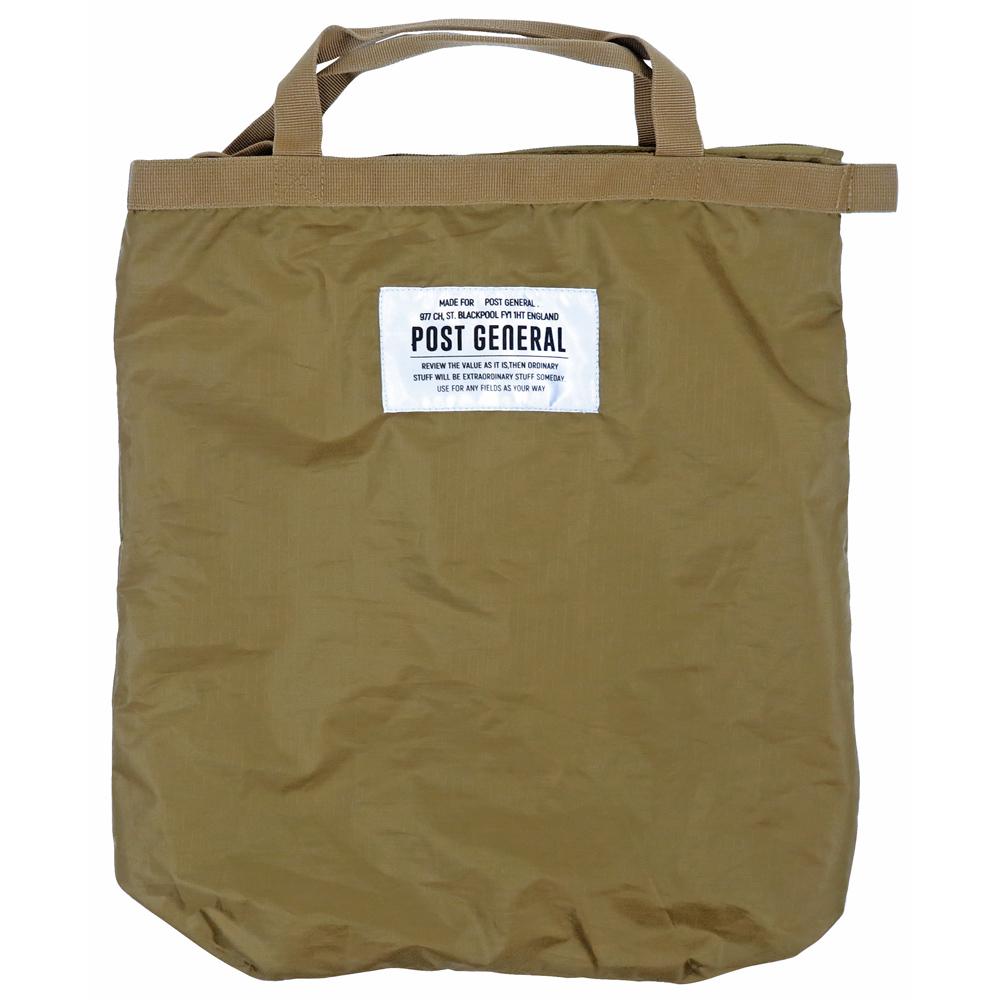 POST GENERAL 環保摺疊防潑水後背手提兩用包(土狼棕)