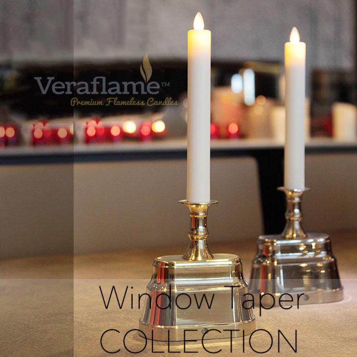 Veraflame|擬真 LED 連底座燭燈 Window Taper