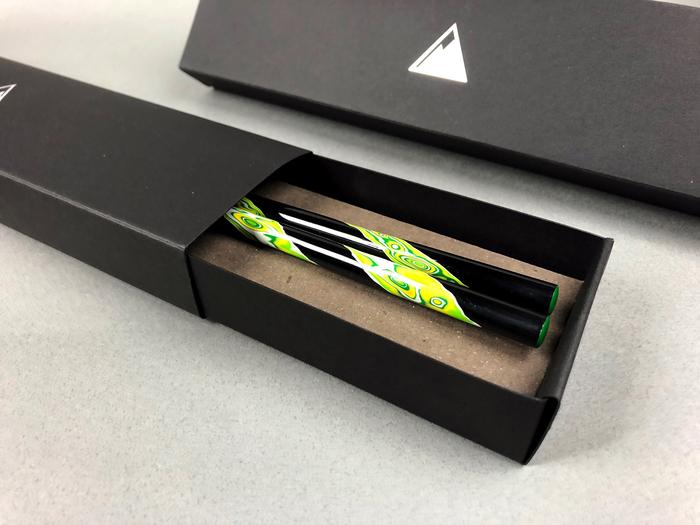 光山行|手工研磨漆筷 旋轉 Lacquer chopsticks(黃綠色)